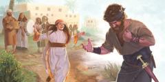 Jefta river sönder sina kläder när hans dotter kommer ut och möter honom