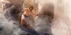 شمشون يضغط على العمودين في معبد داجون والمبنى ينهار