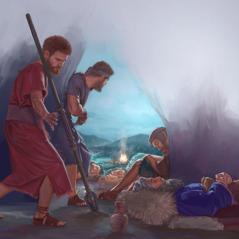 David takes Saul's spear while he sleeps