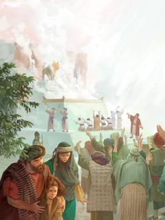 عدد كبير من الاسرائيليين يقدِّمون الذبائح لعجل ذهبي صنعه يربعام