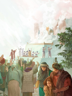 Many Israelites offer sacrifices to a golden calf set up by Jeroboam