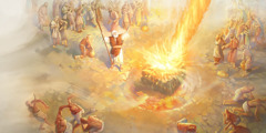 Fire from Jehovah consumes Elijah's offering
