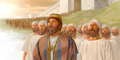 King Jehoshaphat and the Levite wey dey sing dey front of the people as dem dey comot for Jerusalem