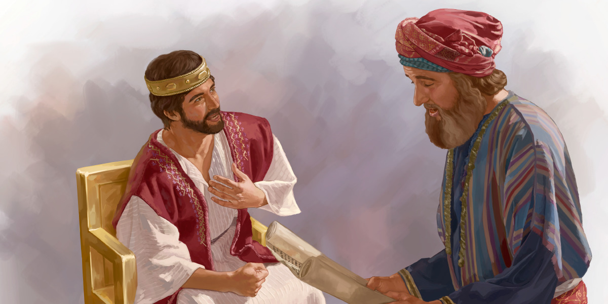 Shaphan reads a scroll to King Josiah