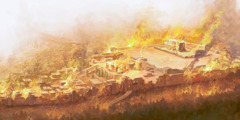 Jerusalem and the temple on fire