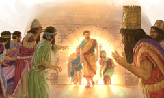 King Nebuchadnezzar is shocked to see Shadrach, Meshach, and Abednego come out of the fire unharmed