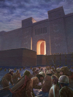 King Cyrus' soldiers march through the river and up to the gates of Babylon