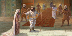 Queen Esther enters the heavily guarded courtyard of King Ahasuerus
