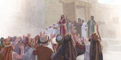 عزرا يشكر يهوه في ساحة كبيرة والشعب يرفعون ايديهم موافقين