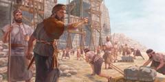 نحميا يوجِّه عمل بناء اسوار اورشليم من جديد ويقيم حراسا في اماكن معيَّنة