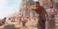 Neyemi k ap dirije moun k ap bati miray Jerizalèm yo e k ap mete gad nan plas yo.