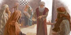 زكريا يشير الى اللوح الذي كتب عليه اسم ابنه ليخبر اصدقاءه وأقرباءه ان ابنه سيدعى يوحنا