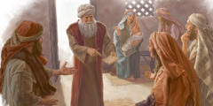 Zechariah informs friends and relatives that his son will be named John