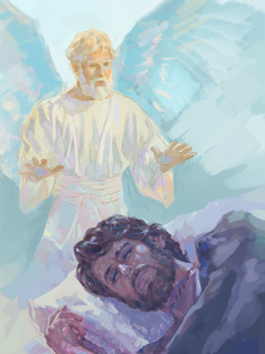 An angel appears to Joseph in a dream