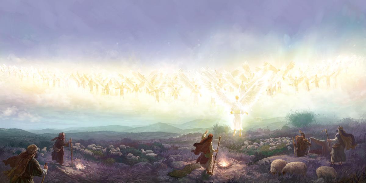 Resultado de imagen para los angeles cantan ante el nacimiento de jesus