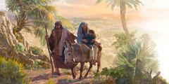 مريم راكبة على حمار وهي تحضن الطفل يسوع فيما يوسف يمشي بجانبهما