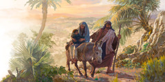 Mary and little Jesus ride a donkey and Joseph walks beside them