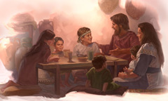 Joseph and Mary sit at a table with Jesus and some of his brothers and sisters