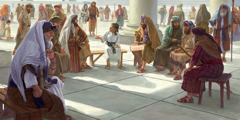 Twelve-year-old Jesus sits in the midst of the teachers at the temple