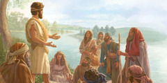 يوحنا المعمدان يعلِّم الناس على ضفاف نهر الاردن