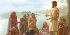 John the Baptist teaches people on the banks of the Jordan River