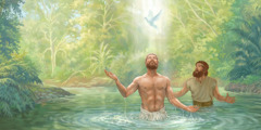 After Jesus is baptized by John, God's spirit comes down on him like a dove