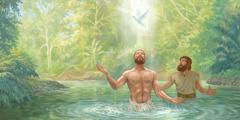 Jesus haft sikj von Johanes deepen loten un Gott sien Jeist kjemt soo aus eene Duw opp am