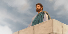 Jesus refuses to jump from the highest point of the temple