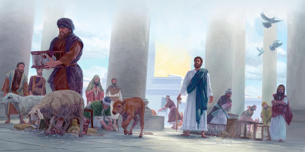 Jesus usa um chicote para expulsar os animais do templo e vira as mesas dos vendedores