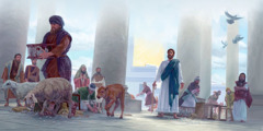 Jesus uses a whip to drive animals out of the temple and overturns the tables of the money changers