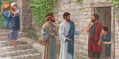 Jesus and a disciple preach
