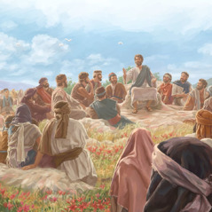 Jesus gives the Sermon on the Mount to a large crowd
