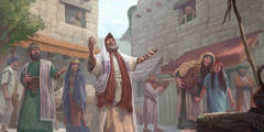 A Pharisee prays in a public place and people stop to observe him