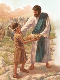 A boy gives Jesus a basket of bread and fish
