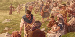 The apostles distribute food to a large crowd