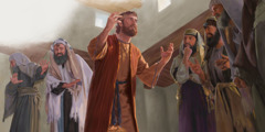 The Pharisees question a formerly blind man