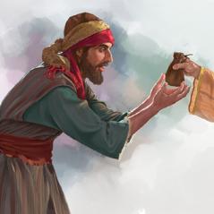 يهوذا يأخذ كيسا من المال