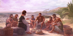 Jesus talks to his disciples while fish cook over a fire