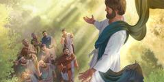Jesus dey go up as im apostles dey look am