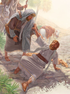 شاول وهو اعمى بعدما رأى ضوءا قويا
