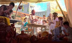 The apostle Paul preaches in a market