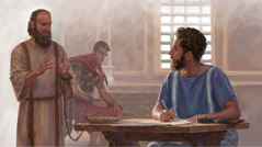 The apostle Paul dictates a letter to Timothy while under house arrest and chained to a guard