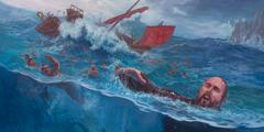 Paulo e outros tentam chegar até à praia de Malta a nado ou agarrados a pedaços do navio