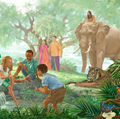 Adults, children, and wild animals together in Paradise
