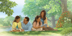 A family uses the Bible as they study Lessons You Can Learn From the Bible together