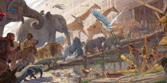 Noe usmerja živali v barko.