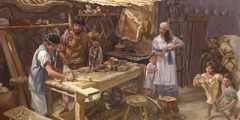 Joseph trains Jesus as a carpenter, with Mary and some of Jesus' siblings nearby
