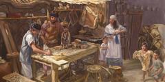 Josef lär upp Jesus som snickare, medan Maria och några av Jesus syskon står i närheten