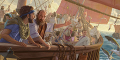 The apostle Paul and Timothy on a ship