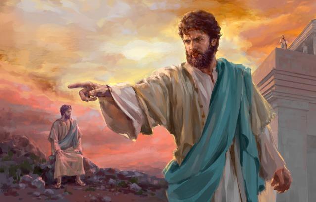 """Koláž: Ježiš odolal pokušeniu. 1. Ježiš sedel medzi kameňmi a meditoval na Judskej púšti. 2. Ježiš stojaci na chráme chrámu. 3. Ježiš pevne povedal: """"Choď preč, Satane!"""""""